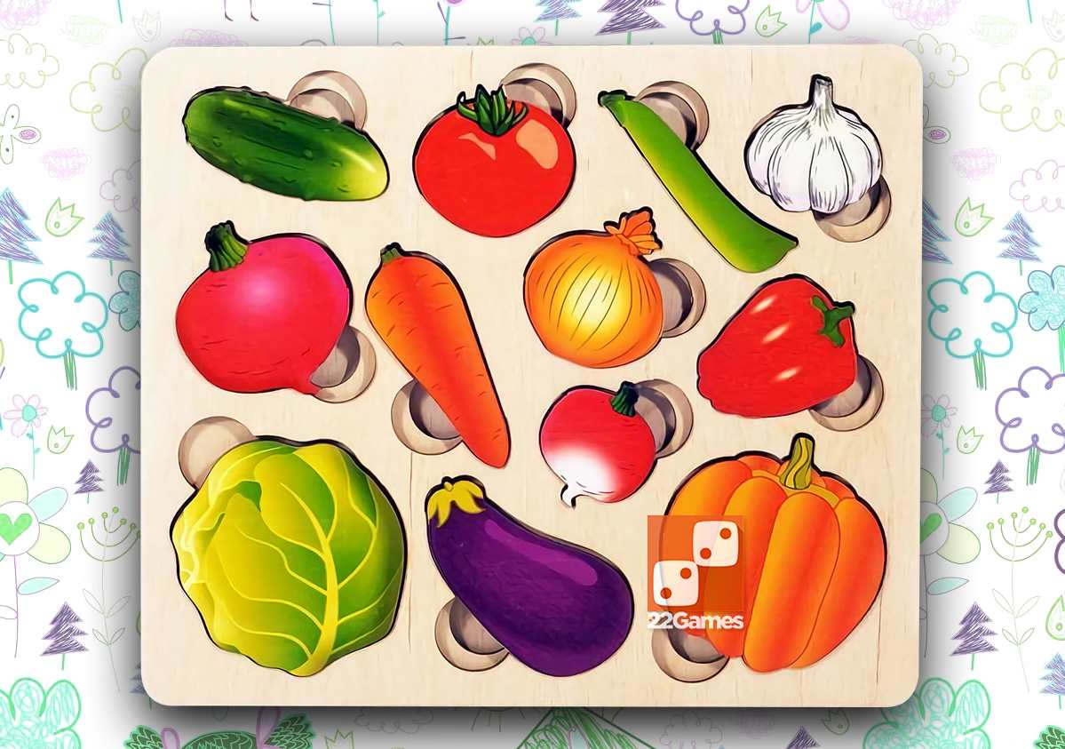 Овощи. Часть и целое. Развивающая доска Сегена